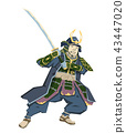 Japanese Samurai Warrior with katana sward in fighting position. Vector illustration. Flat style 43447020
