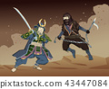 Japanese Samurai Warrior fighting with Ninja on dusty sandy background. Vector illustration. Flat 43447084
