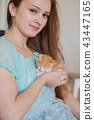 woman, cat, kitty 43447165