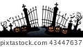 Cemetery gate silhouette theme 3 43447637