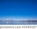 福島縣的象徵區域,日本的第四大湖,豬苗代,以及在晴朗的天氣中反映在藍色湖面上的白雪皚皚的Kuwayama之間的對比是美麗的 43449167
