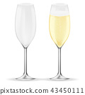 Glass of champagne. Sparkling wine with bubbles 43450111