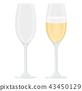 Glass of champagne. Sparkling wine with bubbles 43450129
