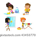 Collection of children doing household routines - mopping floor, washing window, hanging clothes on 43450770