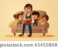 Grandfather sitting with grandchildren on a cozy sofa with the book, reading and telling book fairy 43450808