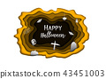 Happy Halloween day paper carve background 43451003
