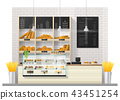 Interior scene of bakery shop with display counter 43451254
