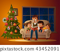 Grandfather sitting with grandchildren on a cozy sofa with the book, near Christmas tree. Reading 43452091