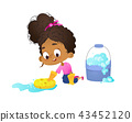 Concept of children doing household routines - little African-American girl mopping floor waering 43452120