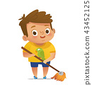 Children doing household routines - Little boy mopping floor. Concept of Montessori engaging 43452125