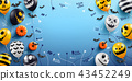 Halloween Blue Background with Ghost Balloons 43452249