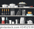 Kitchen accessory or kitchenware at shelves 43452538