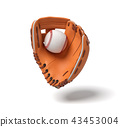 3d rendering of a new orange baseball mitt hanging on the white background with a white ball inside 43453004