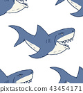 Shark seamless pattern, sketch doodle shark vector 43454171