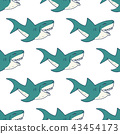 Shark seamless pattern, sketch doodle shark vector 43454173