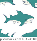 Shark seamless pattern, sketch doodle shark vector 43454180