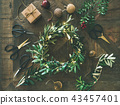 Flat-lay of Christmas decoration toys and wreath 43457401