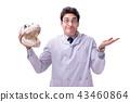 Funny crazy professor paleontologyst studying animal skeletons i 43460864