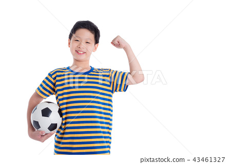 boy holding ball and smiles over white background 43461327