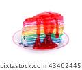 Rainbow Crape cake with strawberry Sauce 43462445