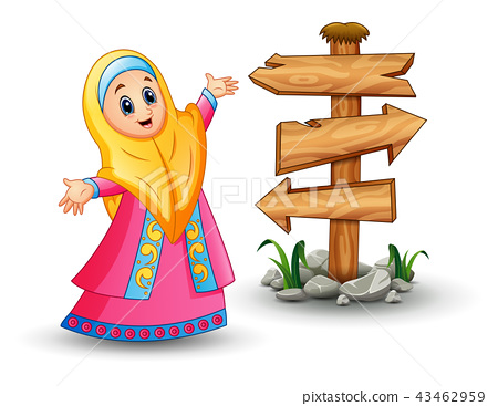 Muslim girl wearing veil and pink dress presenting 43462959