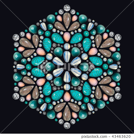 Creative layout of jewelry. The mandala is made of different gemstones on black 43463620