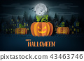 Halloween Party with scary pumpkins 43463746