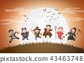 children in halloween costumes. 43463748