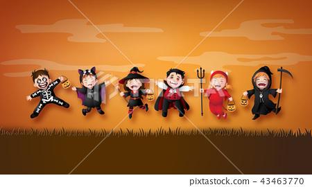 children in halloween costumes. 43463770