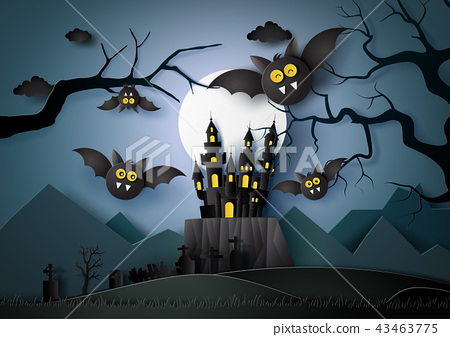 Happy Halloween with bats flying in the darknight. 43463775