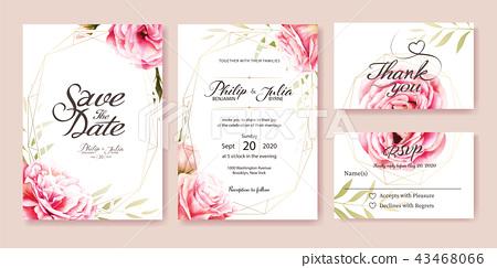 Pink rose wedding invitation card. Wedding... - Stock Illustration ...