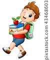 Schoolboy carrying books and apple 43468603