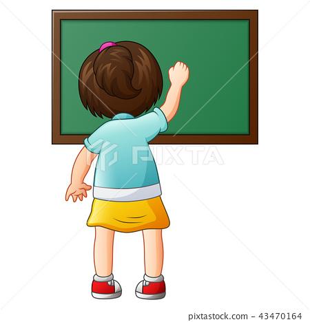 School girl writing on a blackboard 43470164