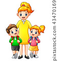 Cartoon kids being escorted by their mom to school 43470169