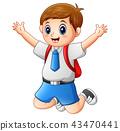 A cute boy in a school uniform is jumping 43470441