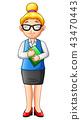 Cartoon woman teacher standing 43470443
