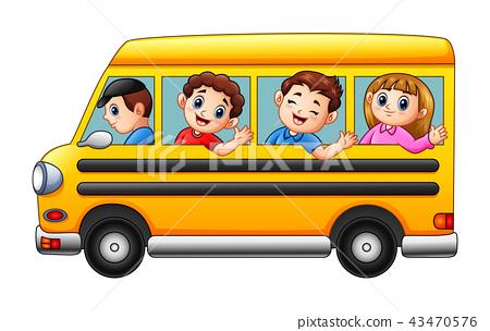 Cartoon kids going to school by school bus 43470576