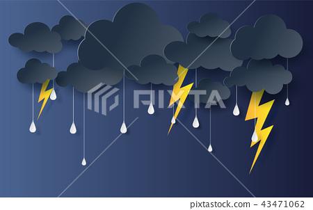 black Cloud and Lightning rainy season 43471062