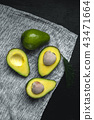 Fresh Avocados Nice to eat On the fabric Dark tone 43471664