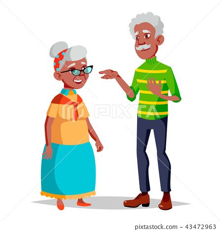Elderly Couple Vector. Modern Grandparents. Elderly Family. Grey-haired Characters. Isolated Flat 43472963