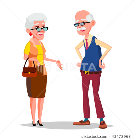 Elderly Couple Vector. Grandfather And Grandmother. Silver Hair. Senior Lady And Gentleman. Isolated 43472968