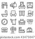 Vector gray line house furniture icons set 43473047