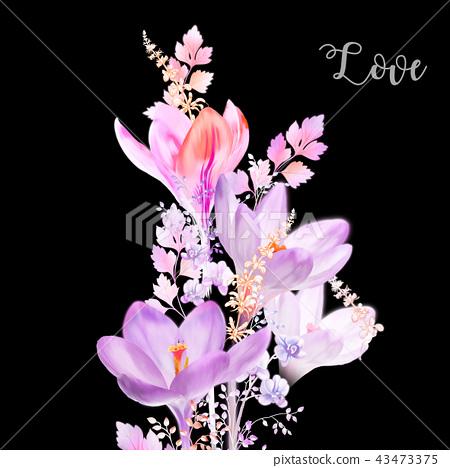 優雅的水彩水仙花花卉 43473375