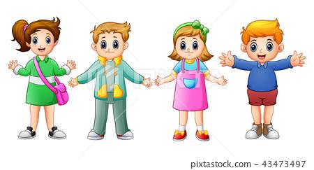 Happy school kids cartoon 43473497