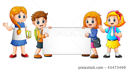 Cartoon school kids with blank sign 43473499