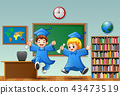 Cartoon boy and girl graduation in a classroom 43473519
