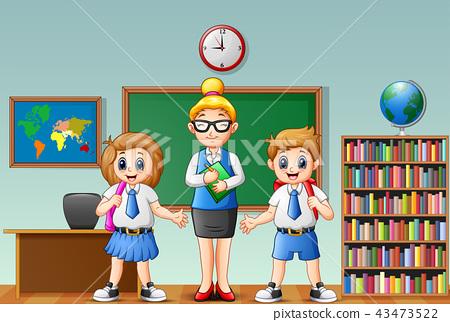 Cartoon female teacher and students in school unif 43473522