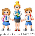Cartoon female teacher and students in school  43473773