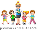 A female teacher with students 43473776