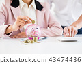 Close up of Businessman putting coin into small piggy bank , The 43474436